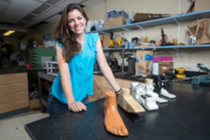 Katy with her prototypes of the Jaipur foot that won her the Lemelson-MIT student prize